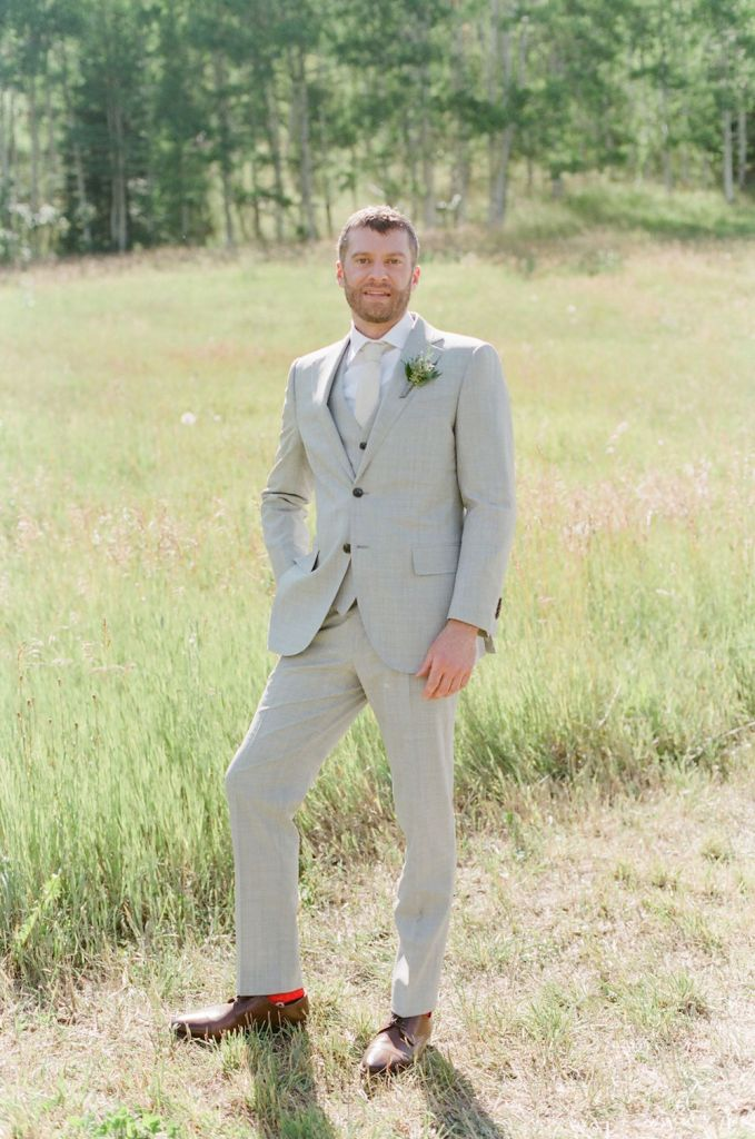 groom in summer suit