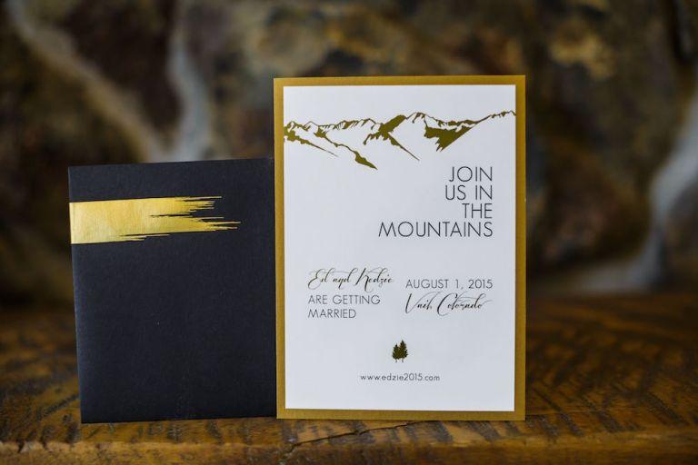 modern mountain wedding invitation