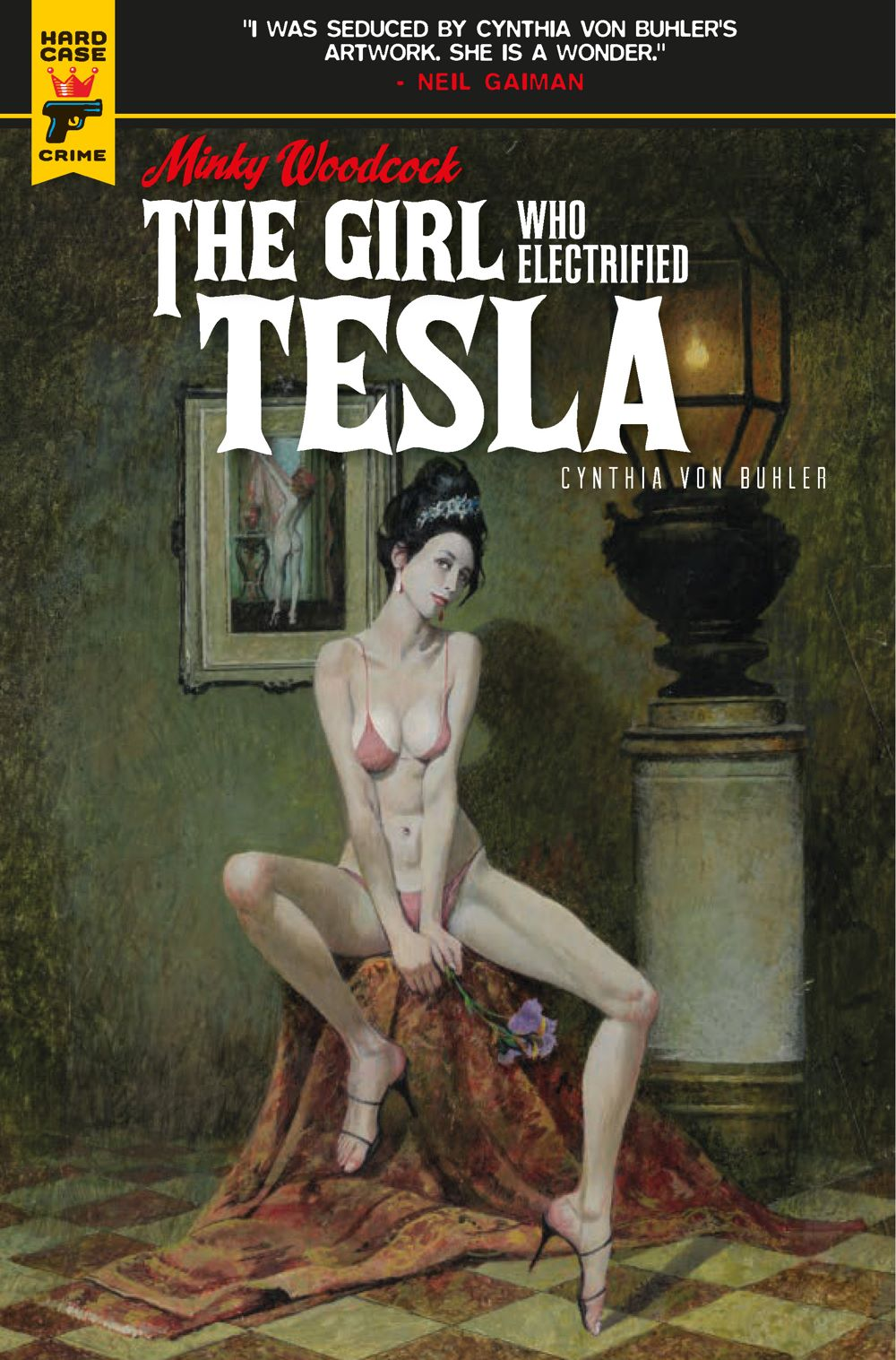 Minky-Woodcock-Cover-A-Robert-McGinnis Minky Woodcock returns in THE GIRL WHO ELECTRIFIED TESLA