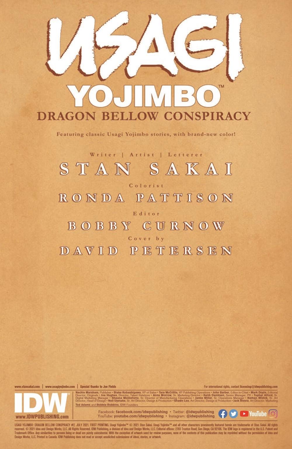 Usagi-DBC02_pr-2 ComicList Previews: USAGI YOJIMBO THE DRAGON BELLOW CONSPIRACY #2 (OF 6)