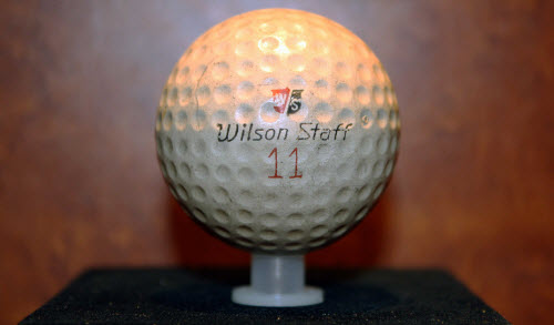 The 1.62-inch Ball Used by Arnold Palmer to Win the 1961 Open Championship, image: worldgolfhalloffame.org