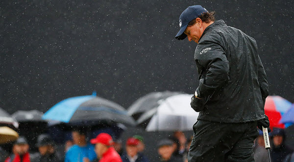 Phil Mickelson Enduring Rain at the 2016 Open Championship, image: Henrik Stenson wins the 2016 Open Championship, image: pgatour.com
