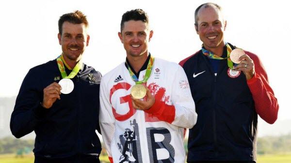 Henrik Stenson, Justin Rose an Matt Kuchar Sporting 2016 Olympic Medals, image: lpga.com