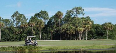 The Great Outdoors RV Resort - golf car by lake