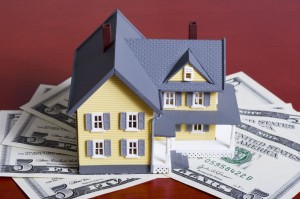 793815 - two-story house with five dollar bills background