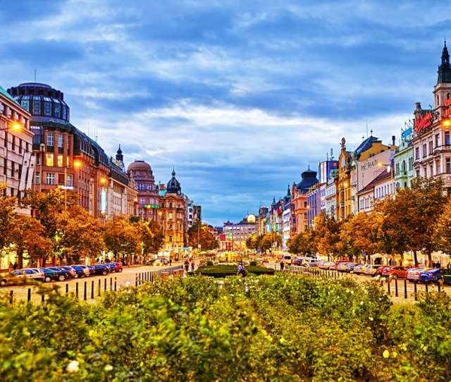 Buildings People And Night Life In Wenceslas Square Prague Czech Republic