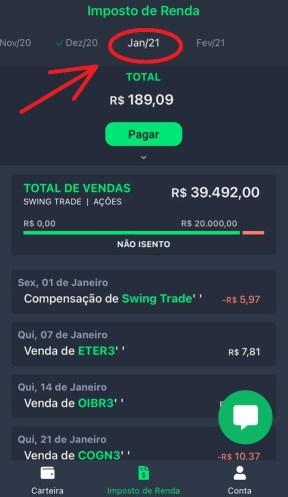 Tela de Imposto de Renda do aplicativo Grana