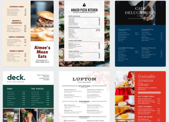 Templates de cardápio para restaurante no Canva.com