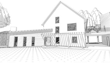 Rural Passive House Lake Home, MN, schematic design, entry elevation