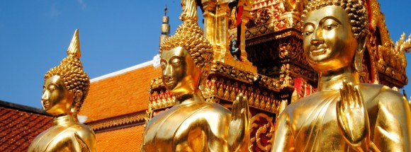 Golden Buddhas at Wat Doi Suthep in Chiang Mai, Thailand