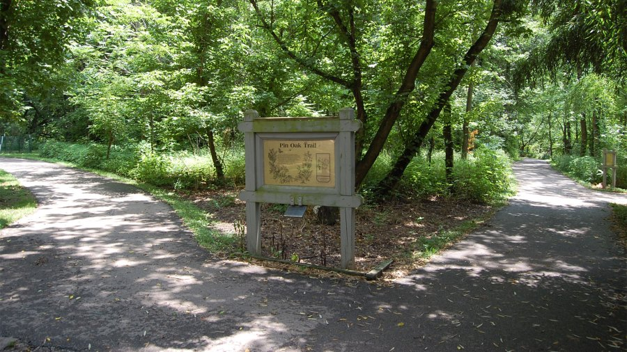 The sign at the trailhead of the Pin Oak Trail at Farbach-Werner Nature Preserve.