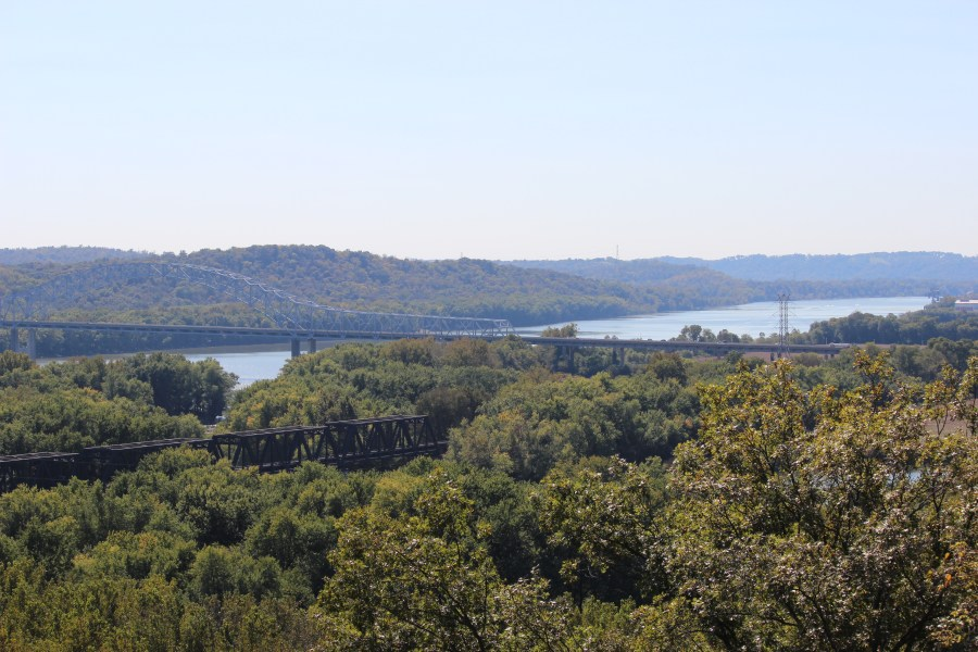 A view of the Great Miami and Ohio Rivers at the end of the Miami Fort Trail in Shawnee Lookout.