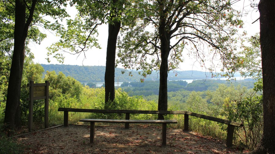 The overlook on the Miami Fort Trail at Shawnee Lookout has panoramic views of the Ohio River Valley, Kentucky and Indiana.