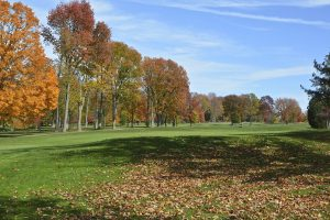 Trees with red and orange leaves line the green at The Vineyard.
