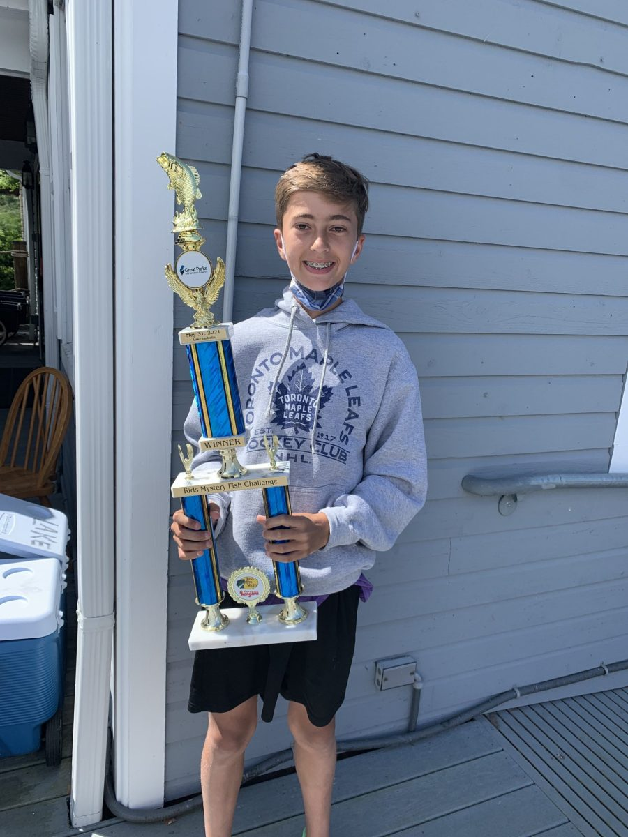 Ben with his winning trophy at the Kids' Mystery Fish Challenge on May 31, 2021.