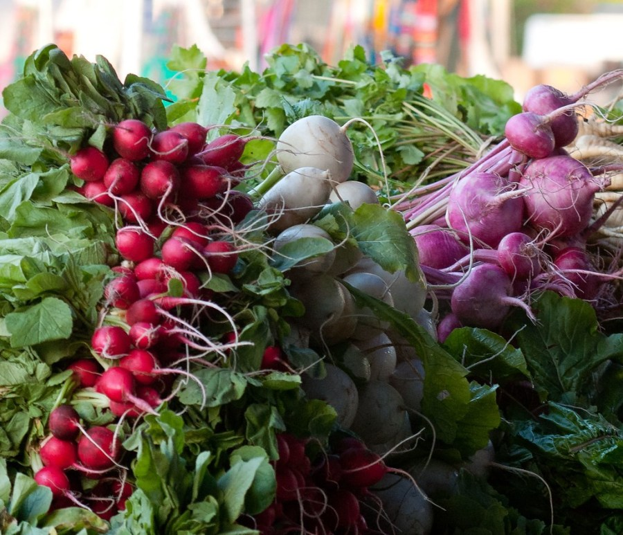 Three types of radishes are displayed in a market.