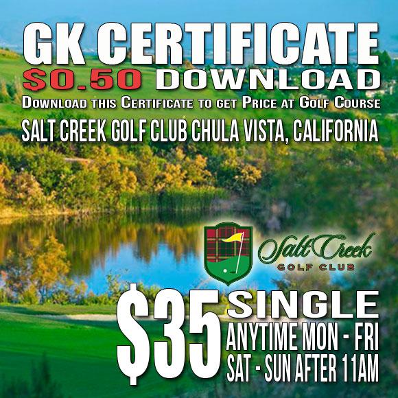 Salt Creek Golf Club GK Certificate