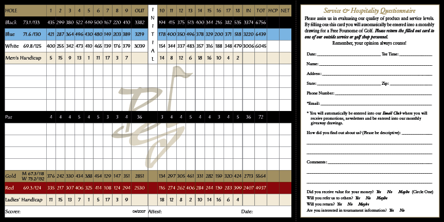 Black Gold Golf Club Scorecard