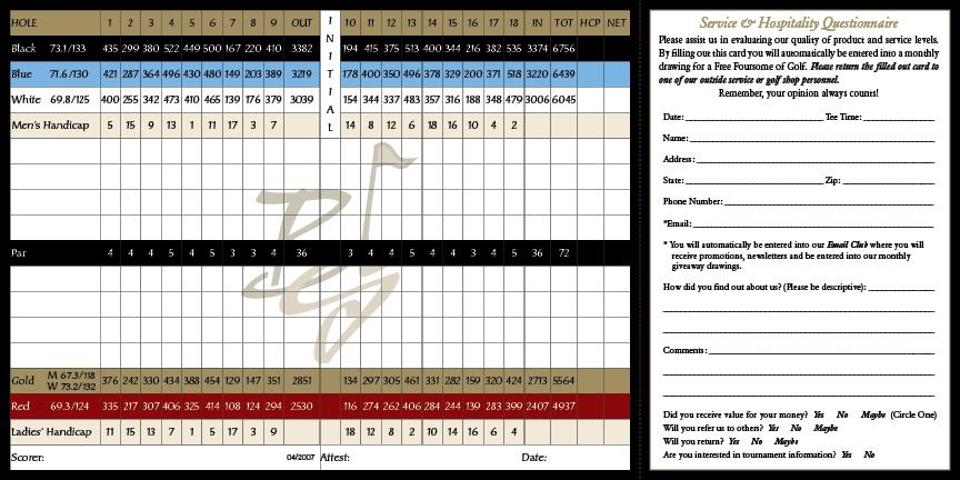 Black Gold Golf Club Scorecard