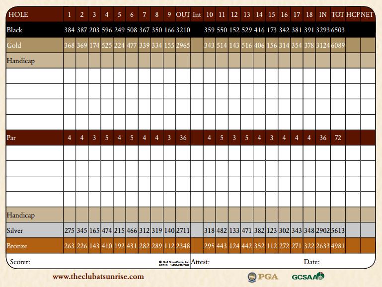 The Club at Sunrise Las Vegas Nevada Golf Scorecard