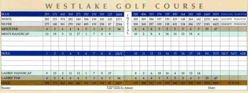 Westlake Golf Course Westlake Village California Scorecard