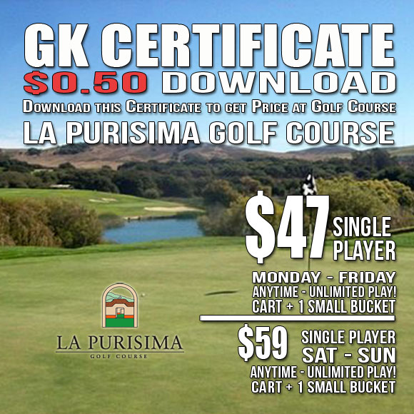 La Purisima Golf Course GK Certificate