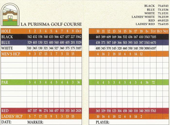 La Purisima Golf Course Lompoc, CA Scorecard