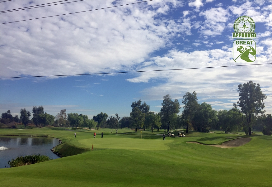 Goose Creek Golf Club Mira Loma California. Hole 18 Approach - the signature hole