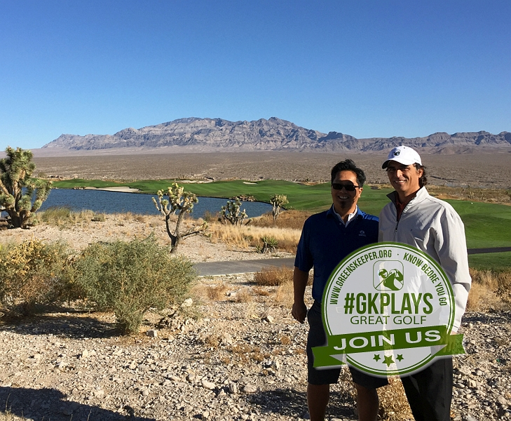 Las Vegas Paiute Golf Resort Las Vegas Nevada. Ringworld & JohnnyGK enjoying the view from Hole 1 @realpuregolf Conditions are spectacular!