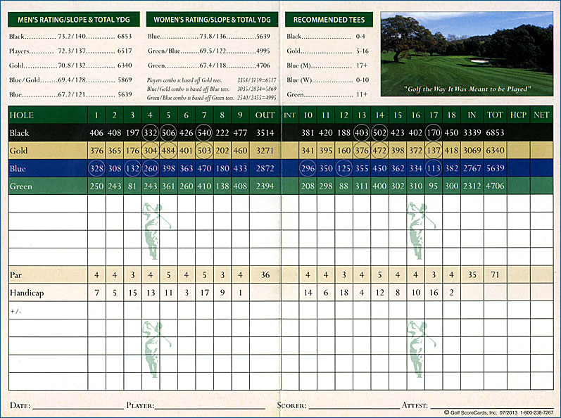 CrossCreek Golf Club Temecula, California Scorecard