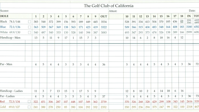 Golf Club of California Fallbrook California Scorecard