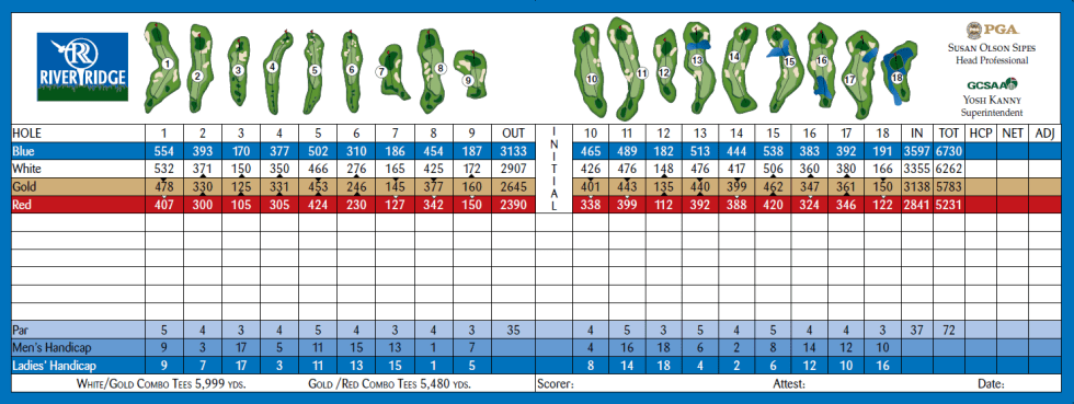 River Ridge Golf Club (VINEYARD) Oxnard, California Scorecard