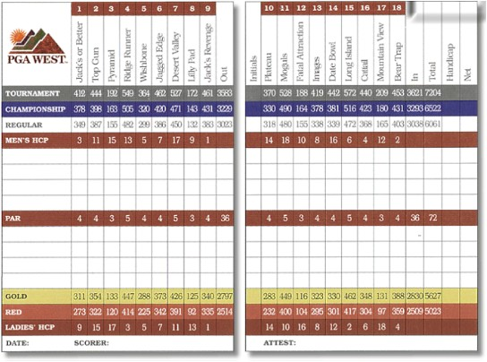 PGA WEST (Nicklaus Tournament Course) La Quinta California Scorecard