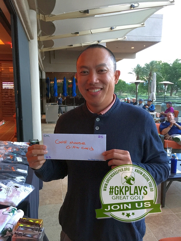 PGA West Nicklaus Tournament La Quinta California KevBig shows off his GolfMoose Gift Certificate. Mas Sarap!