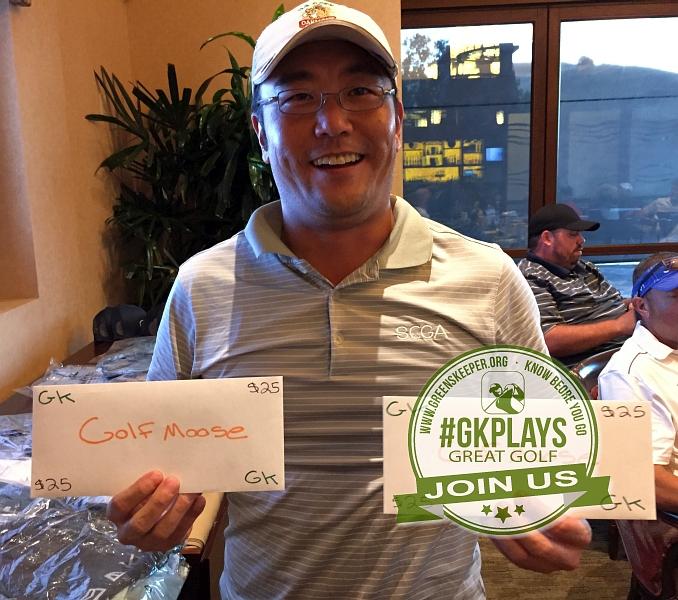 Yocha Dehe Golf Club Brooks CA Phillip Park shows off his GOLFMOOSE SWAG