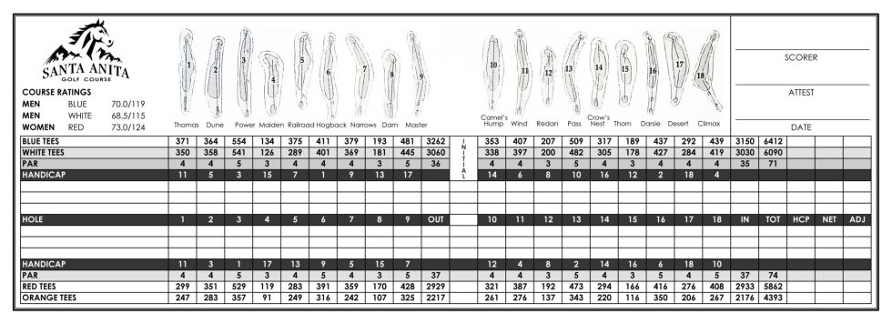 Santa Anita Golf Course Arcadia California Scorecard