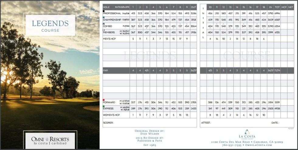 Omni Hotel La Costa Resort & Spa Legends Course Scorecard Carlsbad California
