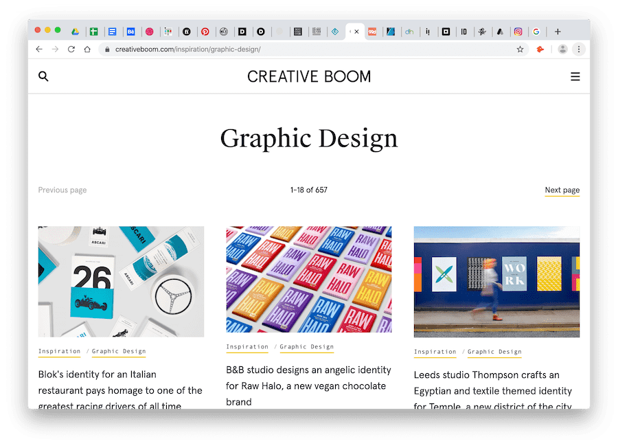 creative boom blog-like site for graphic design