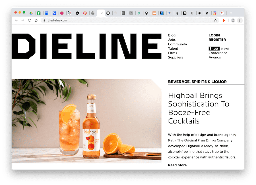 screenshot of dieline website for packaging design