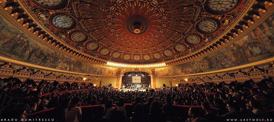Imagine de ansamblu din interiorul Ateneului Român din timpul concertului susținut de formația Urma, în martie 2009.