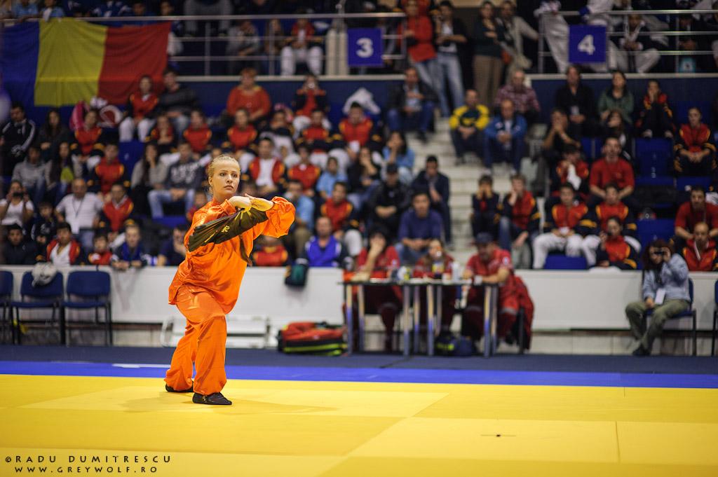 Imagine de la demonstrația de Wu-Shu Kung-Fu din pauza campionatului Balcanic de Ju-Jitsu. Fotografie de sport - Radu Dumitrescu