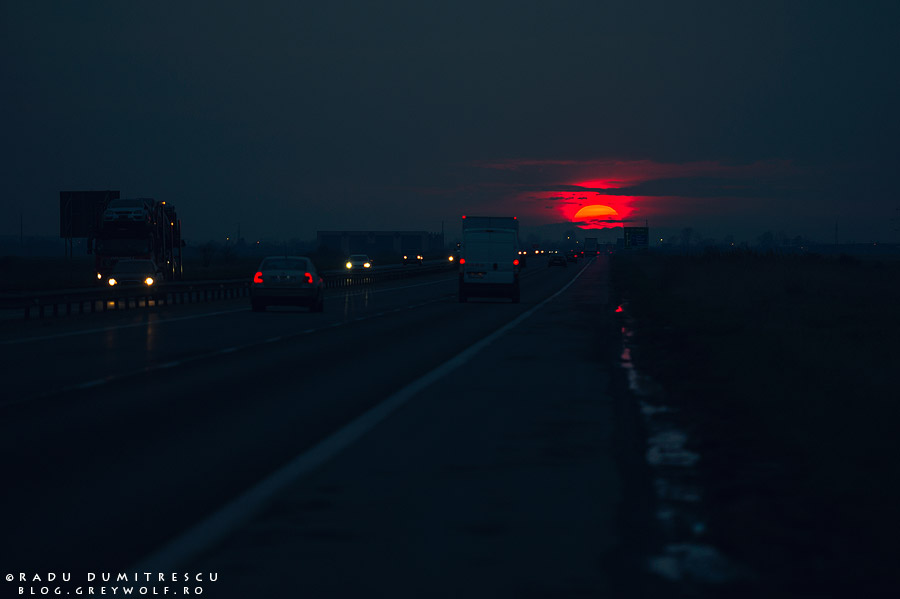 fotografie apus autostrada bucuresti pitesti de Radu Dumitrescu