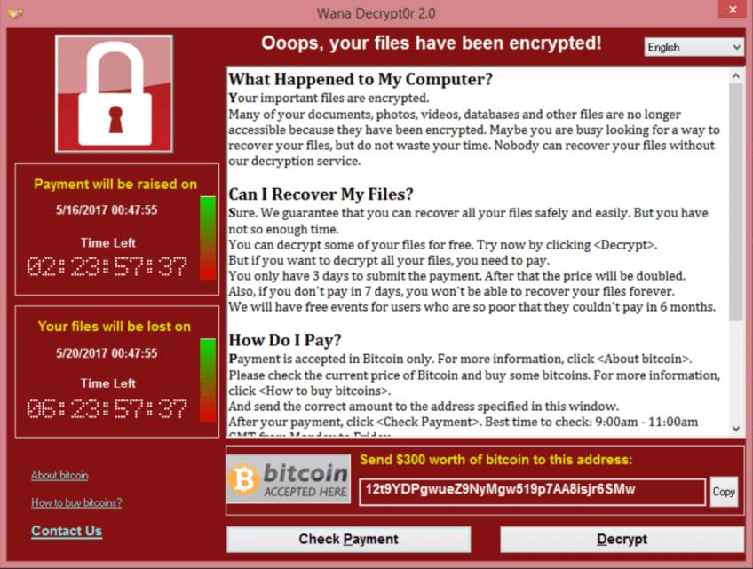 Wannacry virus demand