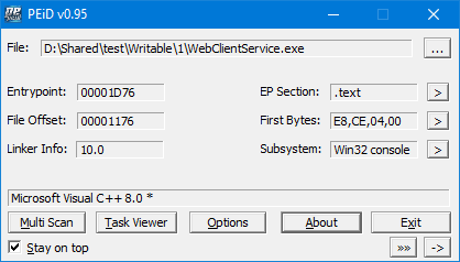 WebClientService.exe written in C++