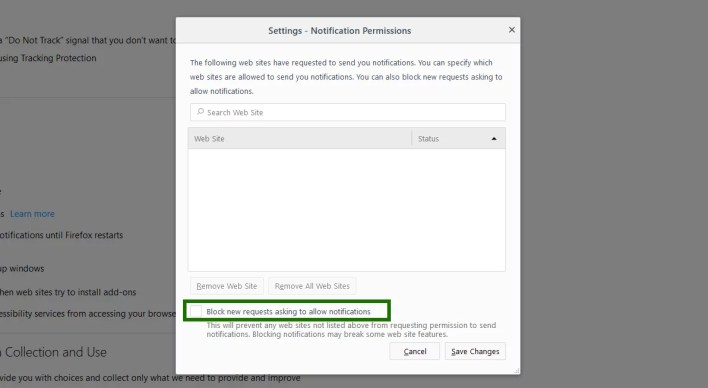 Disable push notifications in Firefox - step 2