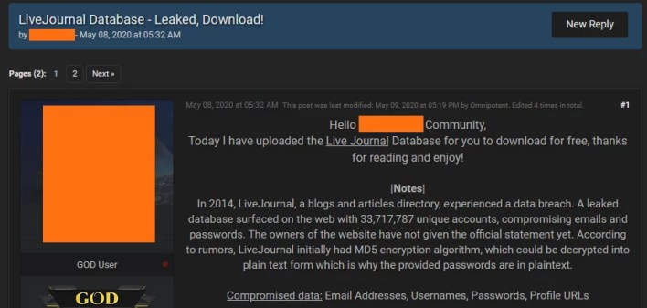 Experts confirmed LiveJournal leak