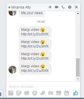 Example of the Facebook virus spam