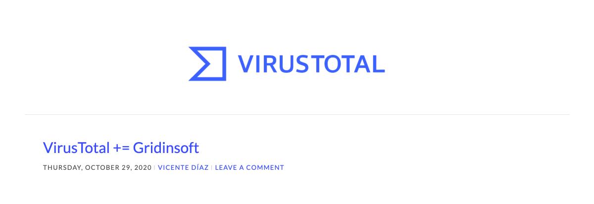 Грідінсофт стала одним із партнерів VirusTotal