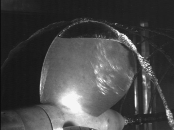 Cavitation observed in the experimental setup