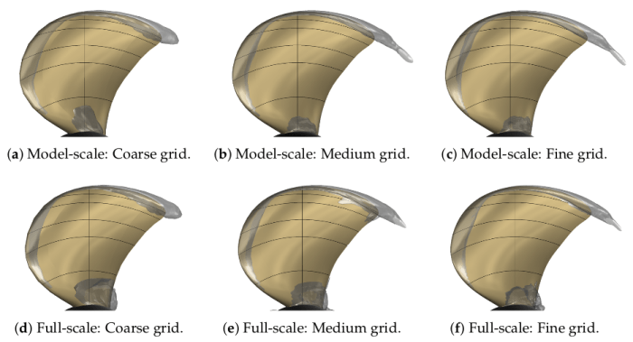 Comparison of near-blade cavitation results with different grid densities